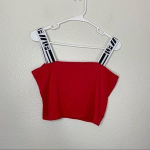 LF Los Angeles Red Logo Strap Crop Red Tank